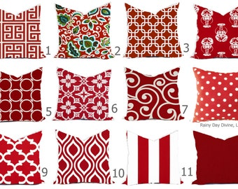 Red Geometric Pillow Etsy