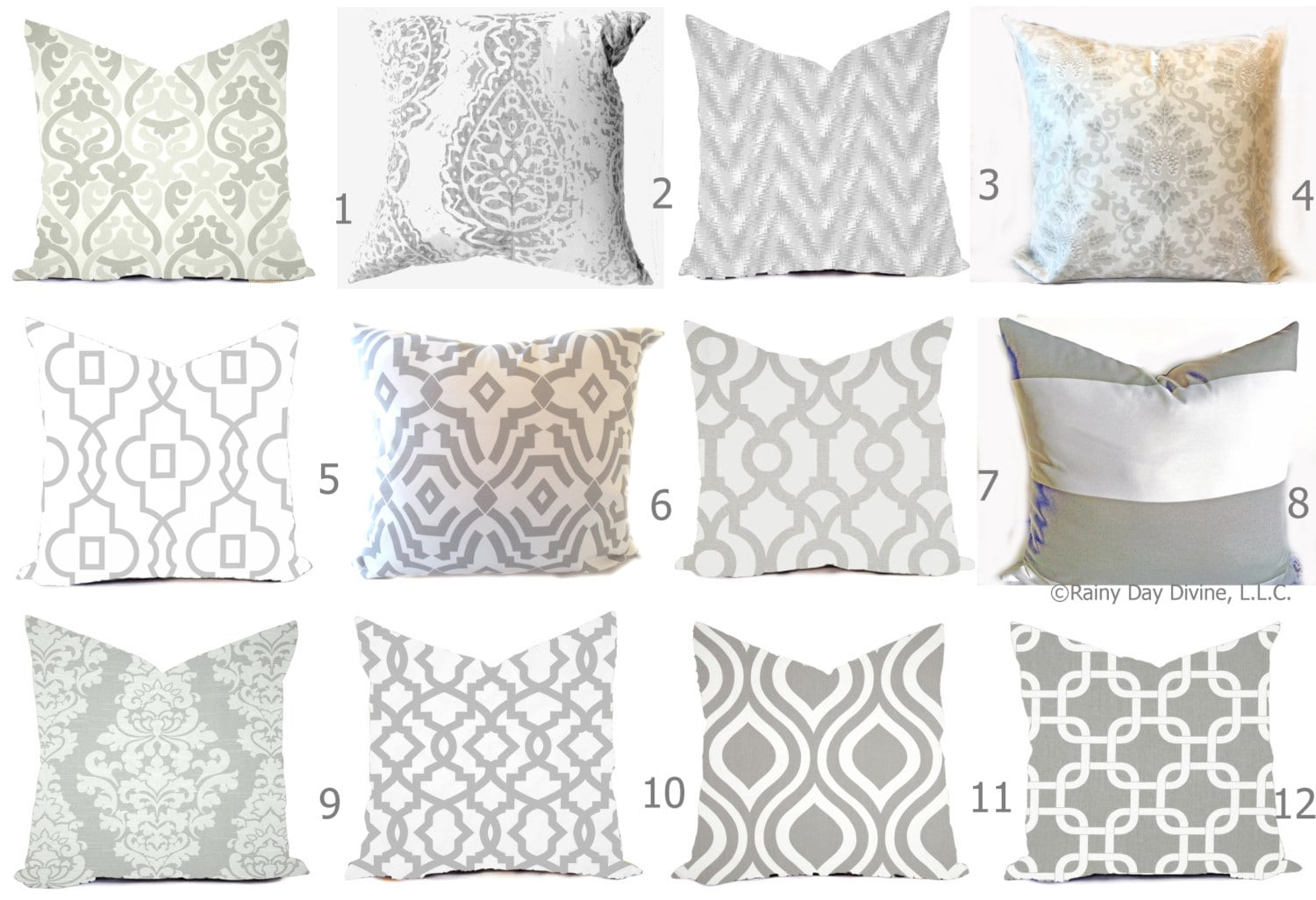 Image of: Grey Pillow Covers Grey And White Throw Pillows Decorative Pillows Gray Pillows Gray Euro Sham Grey Couch Accent Pillows
