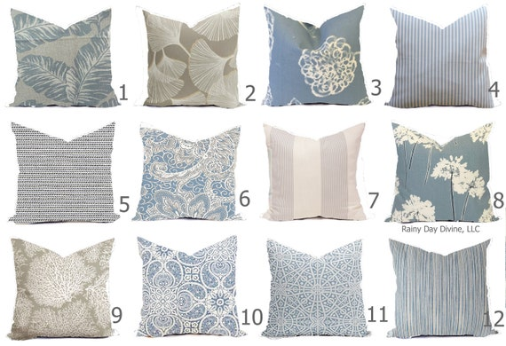 Custom Pillow Covers Dusty Ice Blue Cornflower Slate Ivory Etsy Best Coastal Throw Pillow Covers