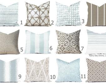 Outdoor Pillows or Indoor Custom Cover - Light Ice Blue Acorn Taupe Ecru Beige Designer Modern multiple sizes 18 x 18, 16x16, 20x20