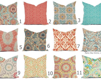 Pillows Covers Outdoor / Indoor Pillow Covers Custom 16x16, 18x18  All sizes - Carribean Blue Aqua Turquoise Coral Peach Terracotta Throw