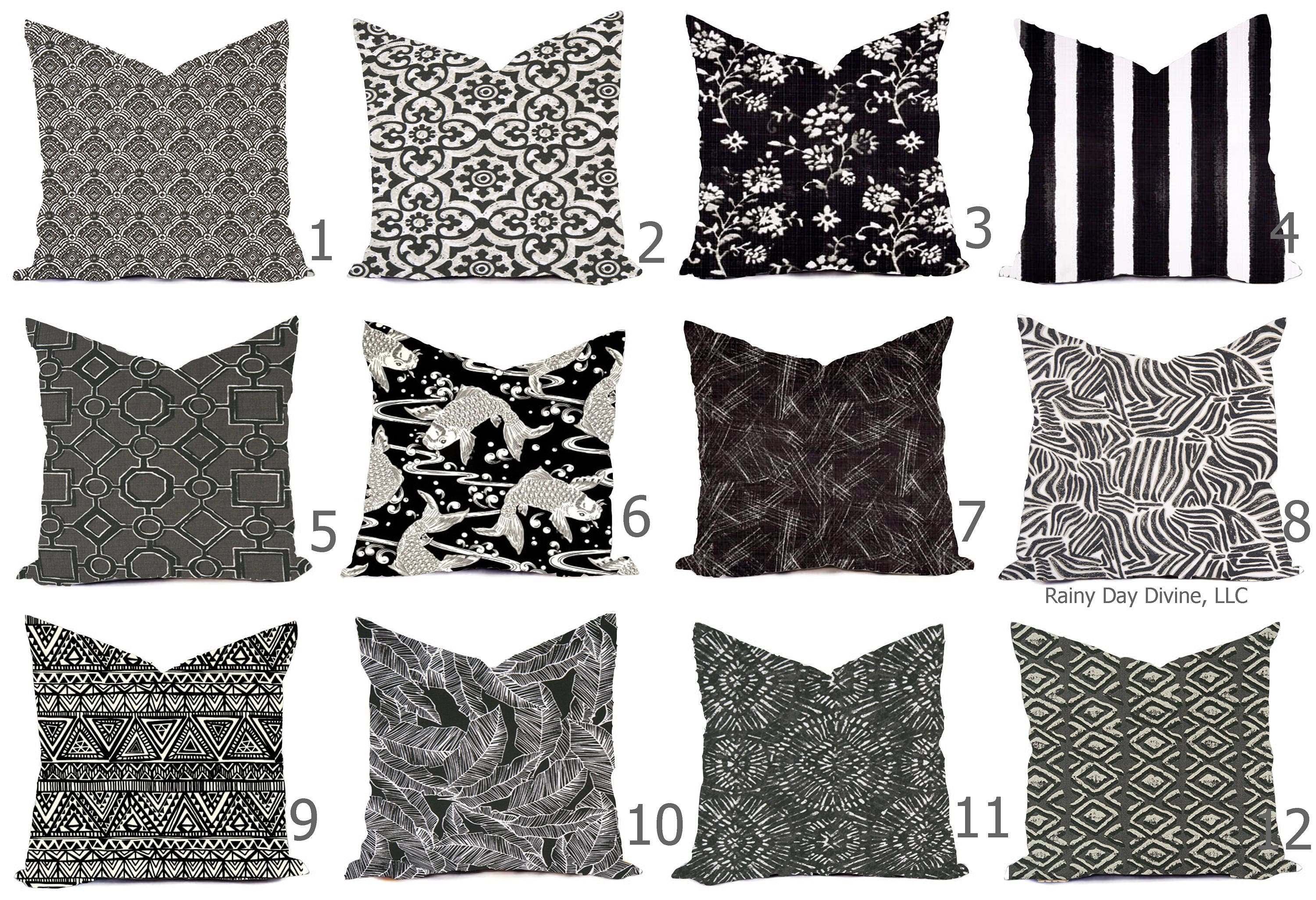 Outdoor pillows or indoor custom cover black gray taupe white contemporary modern geometric coastal 18x18 16x16