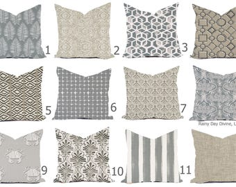 Outdoor Pillows or Indoor  Custom Cover - Gray Sand Tan Beige White Contemporary Modern Geometric Coastal 18x18, 16x16