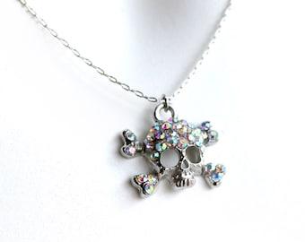 Rhinestone Silver Skull Necklace, Rhinestone Skull Charm, Skull Necklace, Halloween Necklace, Skull and Cross Bones, Sugar Skull Necklace
