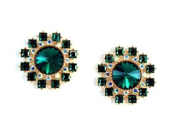 Large Dark Green and Gold Rhinestone Earrings, Fancy Earrings, Holiday Earrings, Christmas Earring,Emerald Green Earrings, Green Earrings