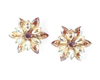 Peach Rhinestone Flower Earrings, Fancy Earrings, Peach Earrings, Rhinestone Earrings, Statement Earrings, Large Fancy Earrings
