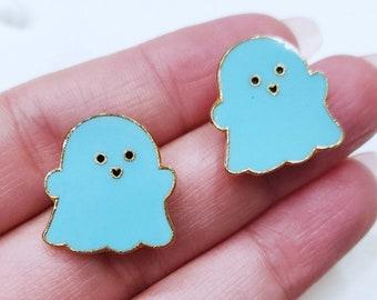 Cute Blue Ghost Earrings | Cute Ghost Earrings | Sky Blue & Gold Ghost Earrings | Halloween Earrings | Ghost Jewelry | Ghost Earrings