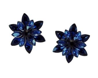 Dark Blue Rhinestone Flower Earrings, Fancy Earrings, Flower Burst Earrings, Rhinestone Earrings, Statement Earrings, Large Fancy Earrings