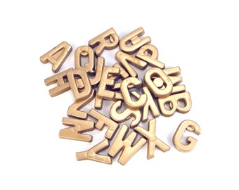 Set of 26 Alphabet Letters Magnets, Hand Painted, Gold Magnets, Letter Magnets, Kitchen Magnet, Kitchen Decor, Office Decor, ABC Magnets