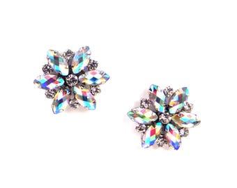 Iridescent, Snowflake Earrings, Fancy Earrings, Holiday Earrings, Christmas Earrings, Iridescent Earrings, Snowflake, Flower Earrings