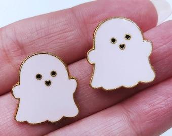 Cute Baby Pink Ghost Earrings | Cute Ghost Earrings | Pink & Gold Ghost Earrings | Halloween Earrings | Ghost Jewelry | Ghost Earrings