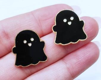 Cute Black Ghost Earrings | Cute Ghost Earrings | Black Gold Ghost Earrings | Halloween Earrings | Ghost Jewelry | Ghost Earrings | Ghosts