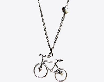 """Bicycle Love, Silver Bike Necklace, 30"""" Silver Chain, bicycle necklace, bike jewelry, bicycle, bike necklace, bike, tiny heart bead, heart"""