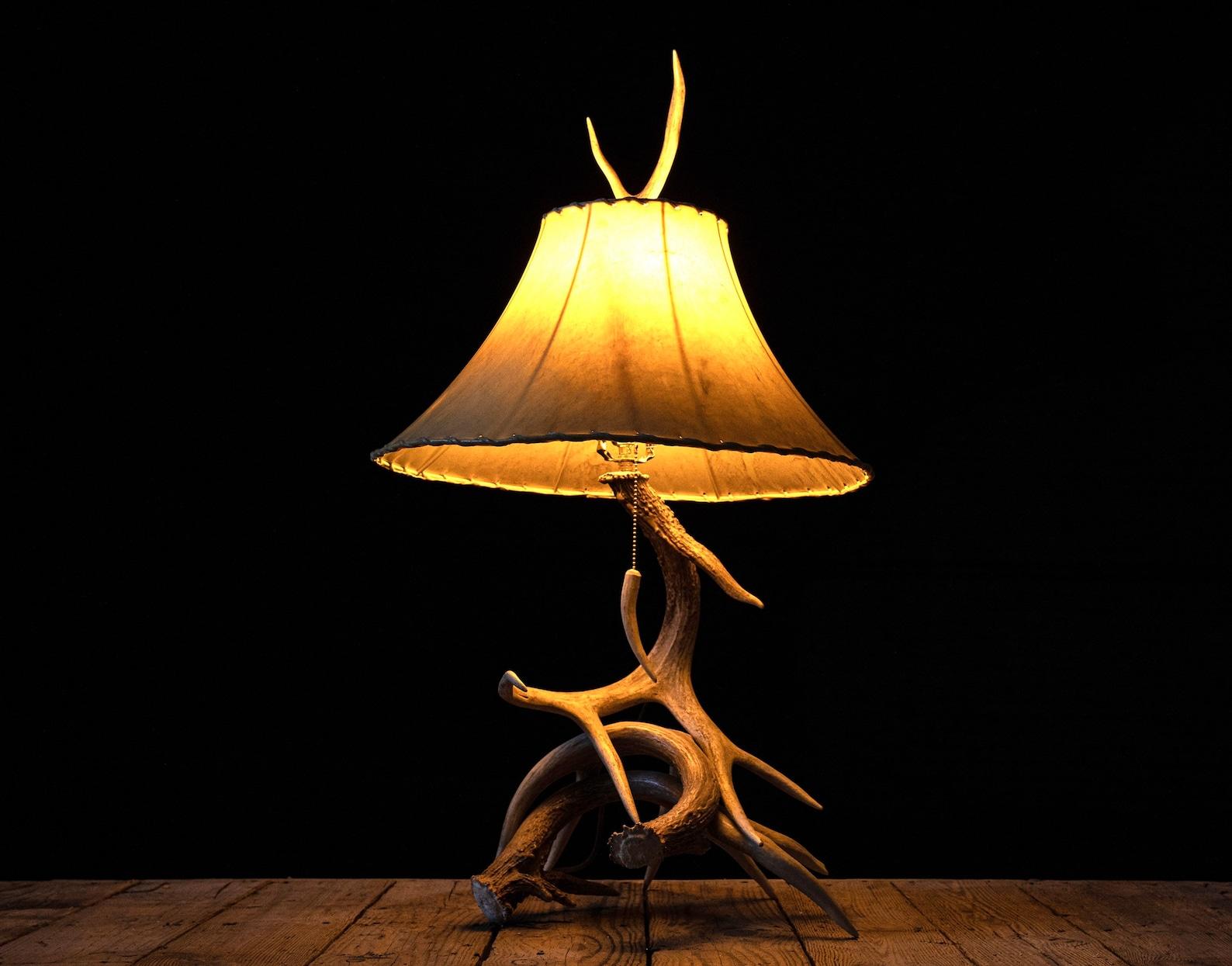 Trophy Whitetail Deer 3-4 Antler Desk Lamp Rustic Country ...