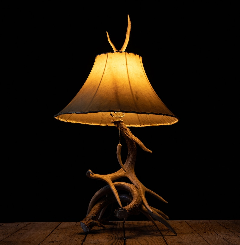 Trophy Whitetail Deer Antler Desk Lamp and Rawhide Shade ...