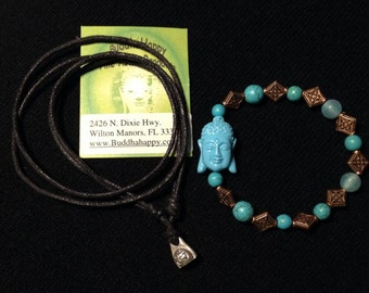 2 in 1 Price 29 Dollars Buddha Tibetan Bracelet + Silver Om Necklace Free Shipping in USA
