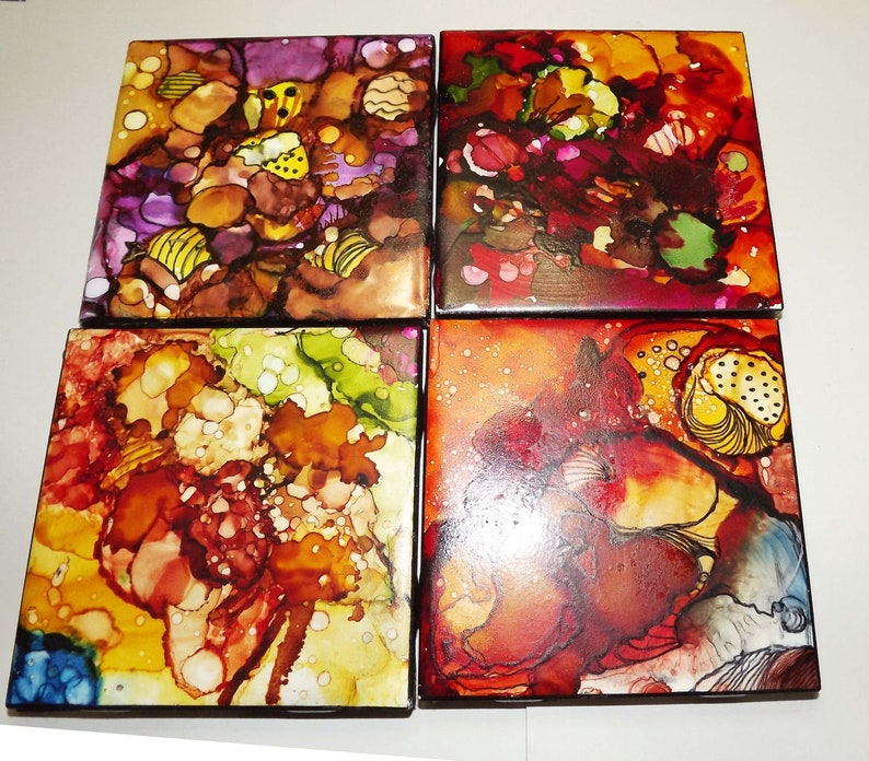 hand painted and sealed Coasters set of 4