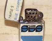 Vintage 1950s Triple S Blue Stamps Lighter