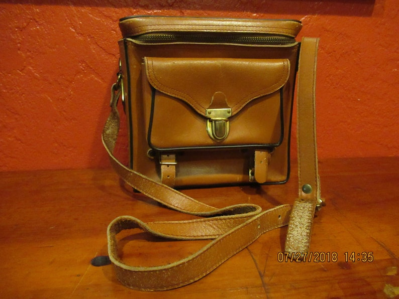 Vintage Leather Camera Tote image 0