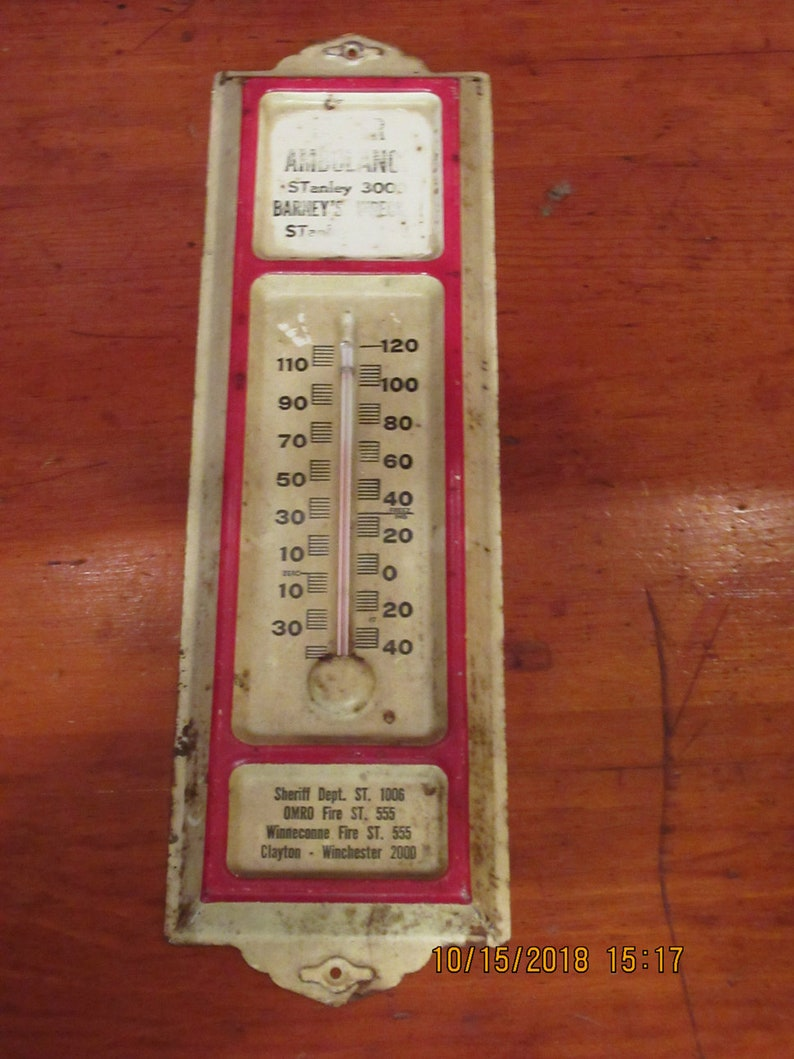 Awesome Vintage Tin Advertising Thermometer image 0