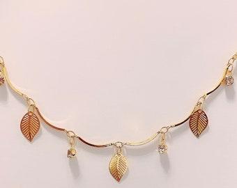 Gold Anklet/Bracelet with Leaves Details and Diamanté