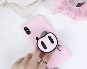 3D Pink Pig Disney iPhone Cover Case Silicone With Grip Handle Airbag Phone Stand Bracket