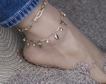 Gold Leaf And Link Pair Bracelet Anklet Sets