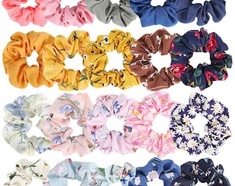 5 Hair Scrunchies Set Cotton and Silk Elastic Ties For Girls/Adults
