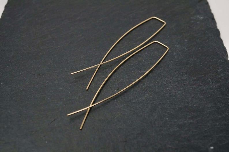 Gold Minimal Criss Cross Slip On Earrings/ Silver Dangle image 0
