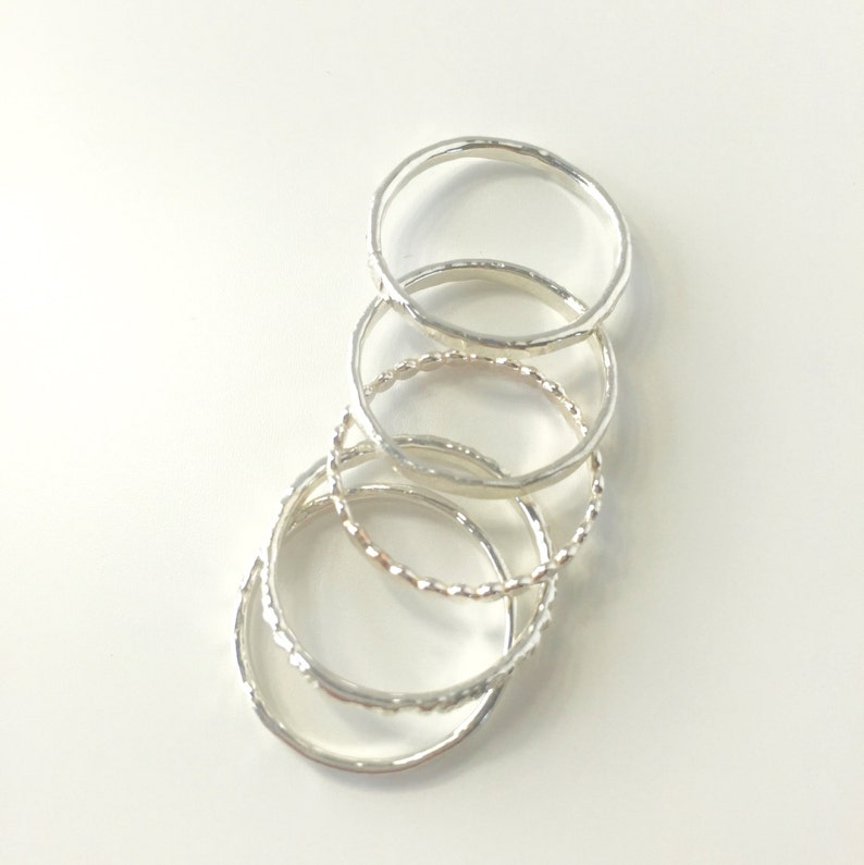 Silver Hammered Stacking Rings/Gold Hammered Stacking Rings image 0