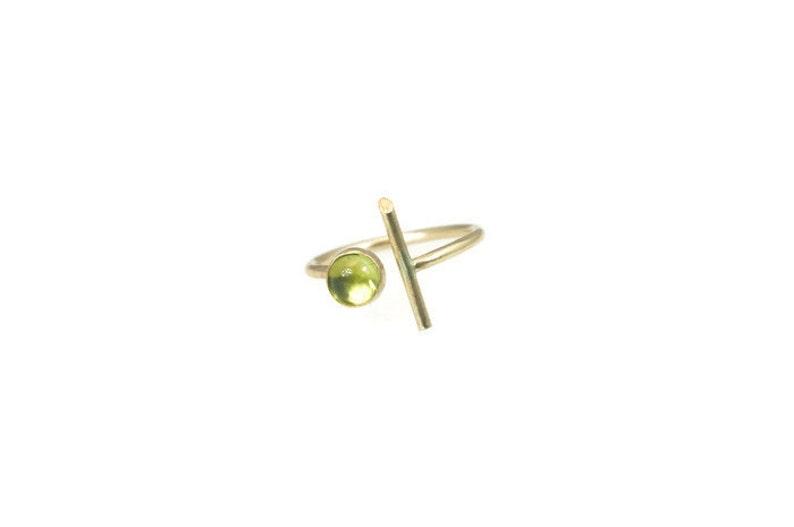 Modern Gold Lines w/Peridot Gemstone Ring/Silver Statement image 0