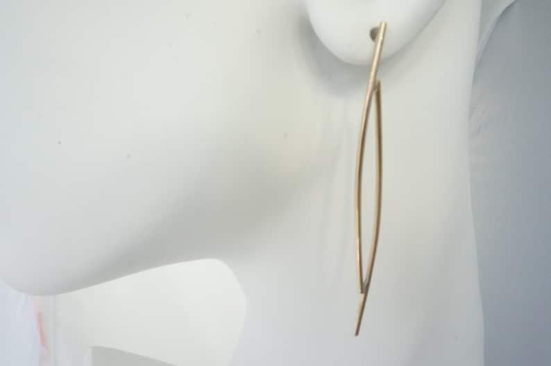 Gold Statement Curved Earrings//Dangle Earrings//Drop Earrings image 0