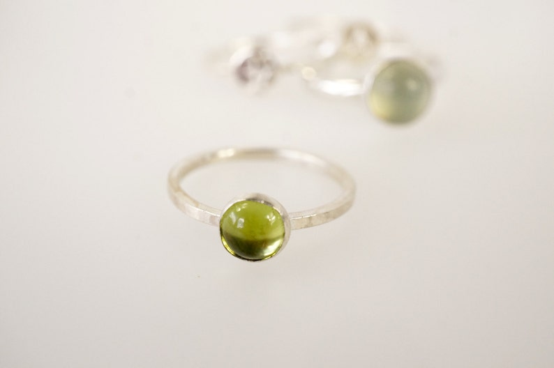 Minimal Silver Stackable Ring With Period Stone image 0