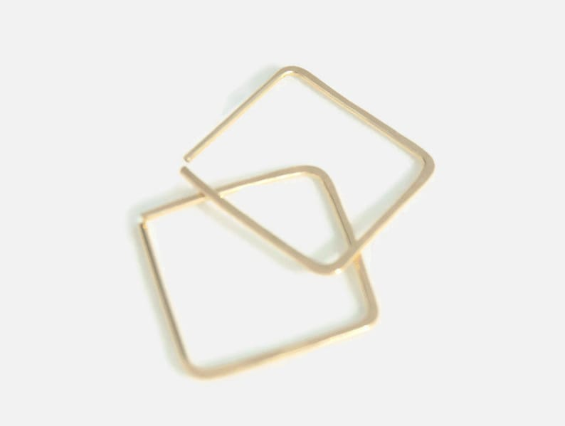 Gold Square Hoops/Silver Square Hoops/ Minimal Hoops/ image 0