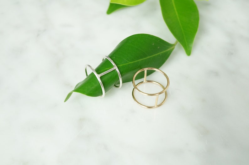 Silver Modern Double Bar Ring/Gold Statement Ring image 0