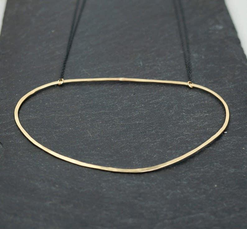 Gold Hammered Large Oval Necklace/Silver Hammered Large image 0