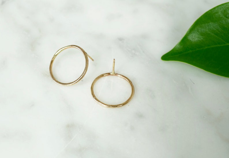Circle Earrings Gold Stud Earrings Open Circle Earrings image 0