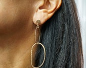 Gold Hammered Dangle Earrings/Silver Hammered Statement Earrings/Women's Gift