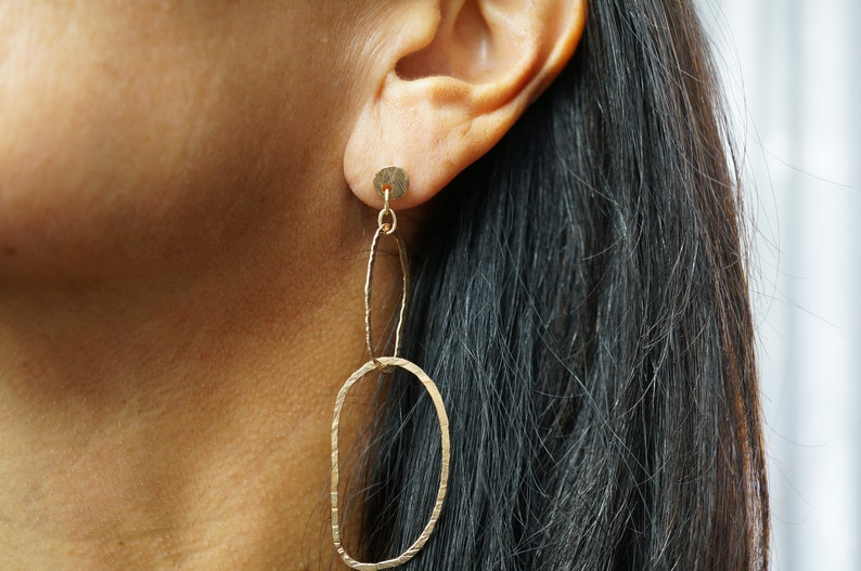 Gold Hammered Dangle Earrings/Silver Hammered Statement image 0
