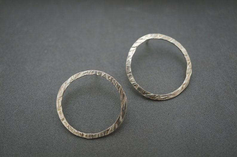 Modern Hammered Circle Stud In Silver or Gold/Boho Circle Stud image 0