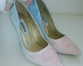 Ladies skull shoes, skull lace shoes, ivory lace, skull lace, alternative wedding, wedding shoes,blue & pink shoes, high heel shoes.