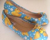 Ladies flat shoes, cute shoes, bow fron shoes, blue yellow shoes, duck, rubber duck, ballet pumps, felt bows, duck charm womens shoes size 3