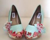 Cupcake shoes , platform shoes, cup cake shoes, bridal shoes, mint shoes, felt flowers, ladies shoes, wedding shoes, quirky heels, size 3-8