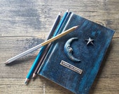 A6 notebook, handmade, mixed media notebook, gift, birthday gift, moon notebook. Small notebook. Blue notebook. Lined notebook. Steampunk