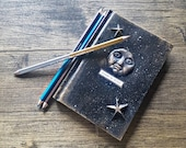 A6 notebook,wicca, mixed media notebook, gift, birthday gift, moon notebook. Small notebook. Blue notebook. Lined notebook. Steampunk, witch