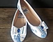 Dr Who flat shoes, ladies flat shoes, darlek shoes, geek shoes, tardis shoes, blue toile, comfy shoes, quirky shoes, size uk 3-9