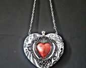 Ladies bag, heart bag, occult bag, small bag, witch bag, clutch bag, monochrome bag, alternative bag. Red heart, wedding bag. Matching bag.