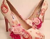 Bridal shoes hot pink polka dot ladies shoes, alice in wonderland, cameo rockabilly customised womens shoes,  size 3-8 uk