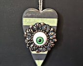 Creepy eye. Wooden hanging heart, steampunk Gift, creepy gift, goth, heary wall hanging, Christmas gift, quirky, weird, unusual