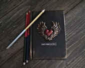 Small notebook,black red book, mixed media notebook, gift, heart quote, grimoire, Small notebook, Lined notebook. Steampunk, wicca, a6 book